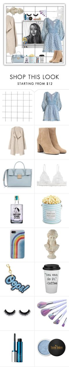 """Modern Alice"" by wildastdandelion ❤ liked on Polyvore featuring Polaroid, Zimmermann, Yves Saint Laurent, Furla, Monki, The Hampton Popcorn Company, Marc Jacobs, Universal Lighting and Decor, Anya Hindmarch and Clinique"