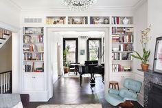 White Built In Bookshelves Around Doorway - Blair Harris - Cobble Hill Townhouse