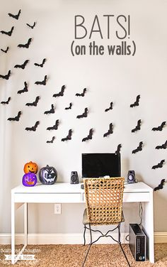 Flying wall bats made of paper! Perfect for a Halloween party or everyday spooky fun! Free PDF bat template and an SVG cut file included.