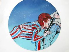 Ziggy Played Guitar  acrylic on vinyl record  Artist: Tigerbee Arts  http://www.tigerbeearts.com