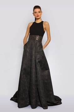 DOUBLE FACED CREPE & BROCADE BALL GOWN in BLACK_PEWTER - Carmen Marc Valvo