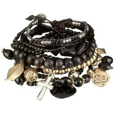 Black Multi Stretch Bracelet Set (53 PLN) ❤ liked on Polyvore featuring jewelry, bracelets, accessories, pulseiras, pulseras, cord jewelry, stacking bracelet sets, beaded bangles, friendship bracelet and stacked bangles