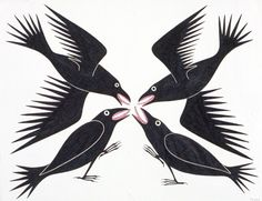 Meeting of Ravens by Kenojuak Ashevak gives the impression of why they are called a murder