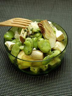 Salade tiède de fèves, artichaut et feta - Vegetarian Recipes, Cooking Recipes, Healthy Recipes, Organic Recipes, Ethnic Recipes, Greens Recipe, Food Humor, Diet And Nutrition, Food Preparation
