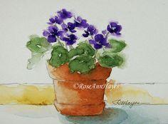 Violettes africaines originales aquarelle violet fleurs Bouquet Floral
