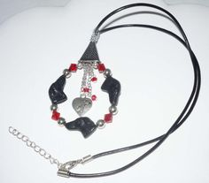 Czech Greyhound Bead Pendant Red and Black with genuine by suebero