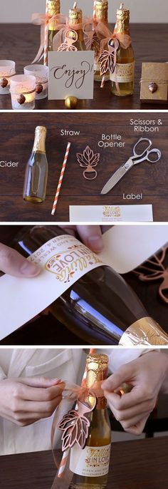 Sparkling Cider | DIY Wedding Party Ideas for Couples | Easy Fall Party Favors to Make