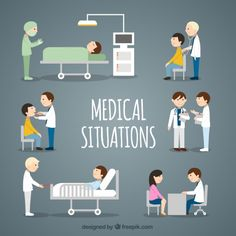 Flat Medical Situations Collection Free Vector