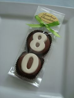 "Milk Chocolate ""80"" Double Oreo Cookies... Eighty...80th Birthday Party Favors www.rosebudchocolates.com"