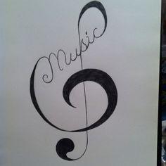 Music tattoo pattern