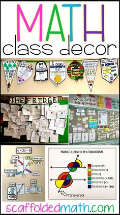 Are you looking for math classroom decor ideas? In this post there are ideas for decorating elementary, middle and high school math classrooms. Includes links to free pdf posters, math word walls and other fun ideas to add to your math classroom decor. Maths Classroom Displays, Maths Display, Classroom Décor, Classroom Posters, Math Teacher, Teaching Math, Teaching Ideas, Slimming World, Math Classroom Decorations