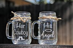 2 Mason Jar Mugs, Her Cowboy & His Angel These make the cutest gifts and perfect for any occasion. – This listing is for Mason Jar mugs. – His Angel & Her Cowboy Mugs – Size – 16 fl. – These do not come with lids. – come with the twine bows –. Cowgirl Wedding, Rustic Wedding, Our Wedding, Dream Wedding, Cowboy Weddings, Western Wedding Ideas, Western Weddings, Country Weddings, Wedding Stuff