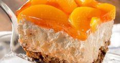 Δροσερό γλυκό ψυγείου με ζελέ (Video) Health Desserts, No Bake Desserts, Dessert Recipes, Salad Recipes, Jello Pretzel Salad, Peach Jello, Banana Cheesecake, Peach Slices, Canned Peaches