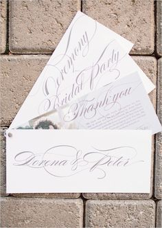wedding programs that span out to double as fan #weddingceremony #weddingprogram #weddingchicks http://www.weddingchicks.com/2014/02/07/pink-and-black-wedding/