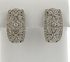 14k Gold Diamond Half Hoop Earrings Featured in our upcoming auction on October 20!