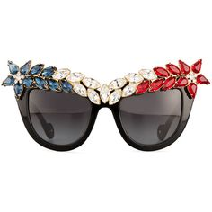 Anna-Karin Karlsson Decadence All American Swarovski® Cat-Eye... (127.815 RUB) ❤ liked on Polyvore featuring accessories, eyewear, sunglasses, 4th of july, glasses, american sunglasses, lens glasses, gradient sunglasses, american eyewear and cateye sunglasses