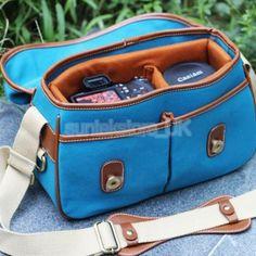 Blue Canvas DSLR SLR Camera Shoulder Bag Case Pouch for Nikon Sony Canon Samsung