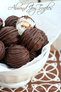 Almond Joy Truffles | Just like the candy bar, these little dessert bites are fun to make and eat. #recipe