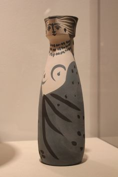 """""""Woman"""" 1955 Pablo Picasso, turned pitcher, white earthenware clay, decoration in engobes, glaze inside (on display at the Fort Lauderdale Museum of Art)"""