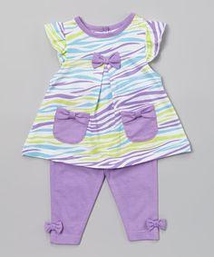 Purple & Teal Zebra Tunic & Pants - Infant