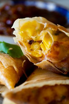 Samosa filled with aromatic cheese and corn filling. Cheese Recipes, Appetizer Recipes, Snack Recipes, Appetizers, Savory Snacks, Spring Roll Pastry, Custard Cookies, Salted Caramel Fudge, Salted Caramels