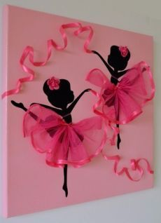 DIY Tutu Ballerina Canvas Wall Art Tutorial, with ribbons, canvas, and a ballerina template. great for girl room decoration or gift delivery Diy And Crafts, Crafts For Kids, Arts And Crafts, Paper Crafts, Summer Crafts, Art Mural Rose, Art Projects, Projects To Try, Art Diy