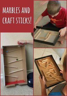 a Marble Run with Craft Sticks Build a marble run or marble maze with craft sticks - so simple and fun!Build a marble run or marble maze with craft sticks - so simple and fun! Stem Projects, Projects For Kids, Diy For Kids, Craft Projects, Crafts For Boys, Craft Stick Crafts, Fun Crafts, Craft Sticks, Popsicle Stick Crafts For Kids