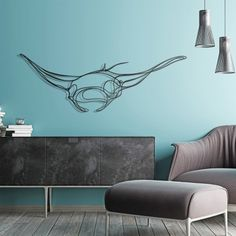 Manta Ray Wooden Wall Art - 3D fish wall sign - Hu2