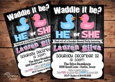 Duck Gender Reveal Invitation - Baby Shower Invitation - Digital - Waddle it be on Etsy, $20.00