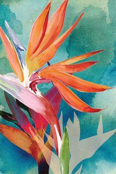 Canvas Artwork, Canvas Art Prints, Big Canvas, Framed Prints, Watercolor Flowers, Watercolor Art, Paradise Painting, Birds Of Paradise Flower, Tropical Art