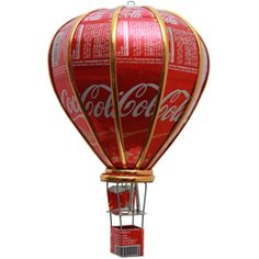 A hot air balloon from Coca Cola tins  Love it