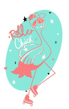 Roller Derby Flamingo  Art Print