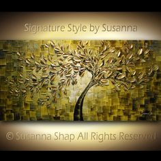 Someday, dj, you need to have this in your house. ORIGINAL Large Abstract Gold Olive Green Tree by ModernHouseArt