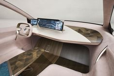 The original interior of the BMW Vision iNEXT, inspired by modern luxury furnitu… - All About Decoration Bmw Interior, Car Interior Sketch, Futuristic Interior, Interior Design Sketches, Interior Concept, Futuristic Cars, Interior Design Magazine, Futuristic Design, Modern Interior