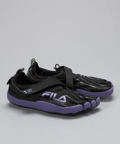 I WANT- I really want to try these...      Take a look at this Black & Purple Haze Skele-Toes Running Shoe - Women by Fila on #zulily today!