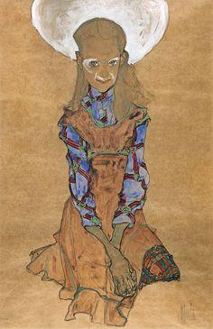 Schiele, Egon - Сидящая девушка (Польди Лодзинская), ок. 1910, 45 cm x 30 cm, Бумага, акварель, уголь, гуашь и карандаш