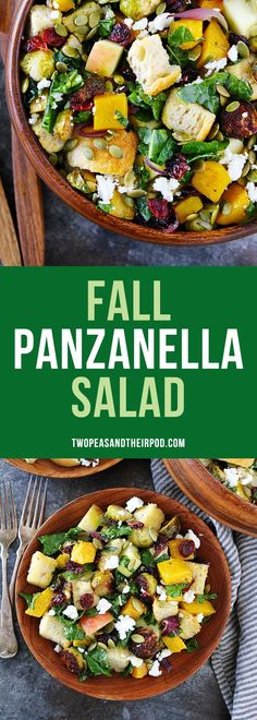 Fall Panzanella Salad-bread salad with butternut squash, brussels sprouts, apple, dried cranberries, pepitas, goat cheese, and kale. This easy fall salad is the perfect side dish for Thanksgiving! #vegetarian #salad #Thanksgiving