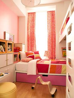 A Timeless Girls' Room for Two:   Smart design and savvy storage make this tiny room in a New York City loft suitable for two kiddos. Make a Statement:   A bunk bed is one of the oldest space savers but remains one of the best. Not only are they the perfect solution for maximizing space, they also double as a fort or jungle gym. This modular bunk system, featuring a youth bed beneath a loft bed, offers the perfect solution for a narrow space. Its large drawer can be used as a storage box or…