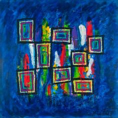 Abstract Colors IV, 100x100 cm - Art by Lønfeldt - original abstract painting, modern textured art, colorful
