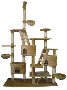 Very Large scratching Post Cat Tree with 3 Condo Tower Play House Furniture