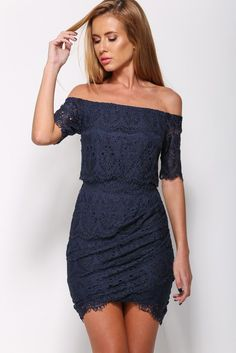 Navy Lace Tunic Off-Shoulder Mini Dress LAVELIQ Material: 95%Polyester + 5%Spandex Size: One Size Color: As Shown Style: Brief, Cute, Club Occasion: Night Club, Summer, Party Dresses Pattern: Patchwor