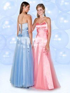 blaues oder rosarotes günstiges Abendkleid aus Organza und Satin