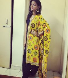 Simple fulkari suit  Indian wedding  Yellow and black kurta patiala  Punjabi suit