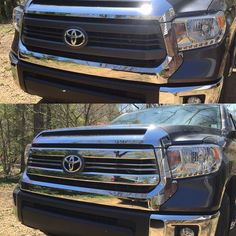 Timob's Tundra with CCI's Chrome Snap-On grille overlay.   Buy today! http://www.sleekautoaccessories.com/products/toyota-tundra-2014-sr-sr5-abs-chrome-snap-on-grille-overlay-by-cci