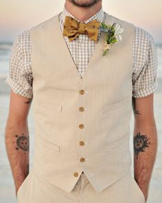 Vintage wedding style. It is too hot for a full suit in the summer, stick to something original with a twist of summer and fashion. Love this!