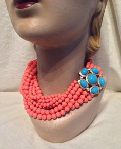 NEW Kenneth Jay Lane 8-strand Coral Bead, Turquoise Clasp Necklace…