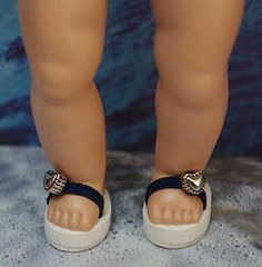 "Navy Blue and White ~FLiP-FLoPs,SaNDaLs~ for Vogue Ginny Dolls.My own design, for your Vogue Ginny 7.5-8"" dolls to wear to the Beach. Fits Muffie and Madame Alexander 7.5-8"" dolls too. Other colors are available and this set in stock at my website www.karmelapples.com now."