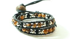 Leather Wrapped Bracelet with Tiger  Eye Faceted by DESIGNBYSTARLA, $35.00