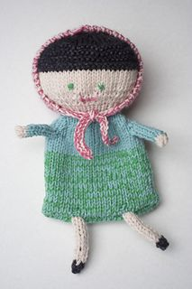 I used some leftovers to make this doll. It is pretty basic - a pin shaped body, arms and legs are knitted as i-cords and sewn on. Only the head is stuffed.  The Drops Baby Merino yarn was held dou...