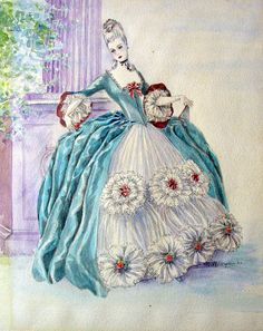 """Watercolor fantasy illustration of an 18th-century period costume. Signed """"Esther Wynn, 1940."""" Unframed. Tape residue on back edges, 11.0ʺW × 15.0ʺH."""